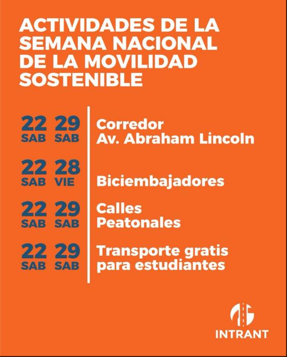 República Dominicana. Calendario actividades de la semana nacional de la movilidad sostenible.