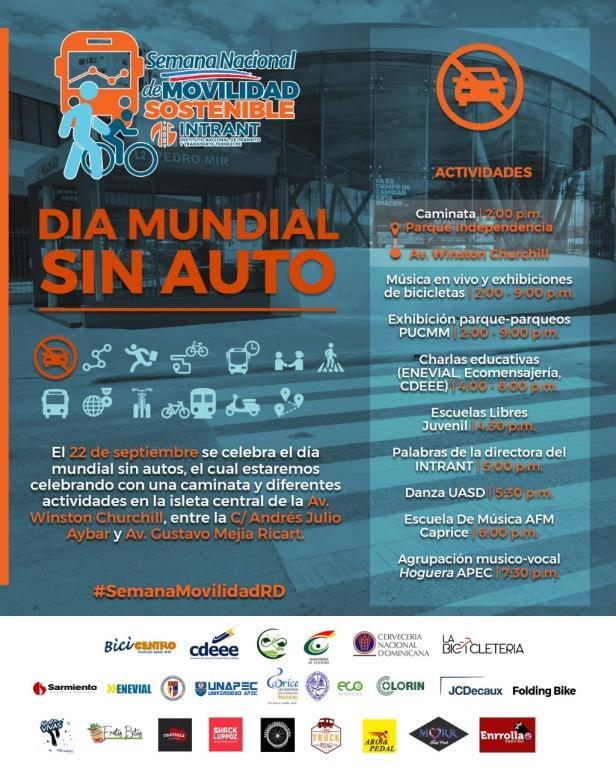 Calendario actividades del dia mundial sin auto. #semanamovilidadRD