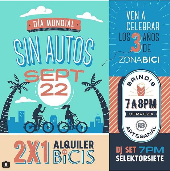 Afiche de actividades por el 3er. Aniversario de Zona Bici